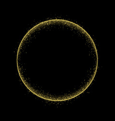 gold circle frame with glitter light effect vector image