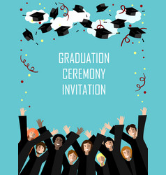graduation poster with happy graduates vector image