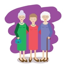Group of aged ladies Three old women grandmothers vector