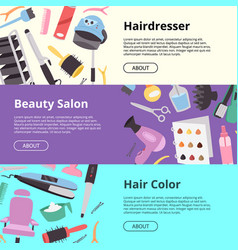 hairdressing equipment setof banners vector image