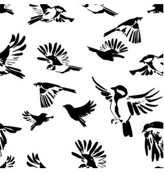 hand drawn silhouettes flying birds seamless vector image