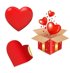 heart gift box vector image vector image