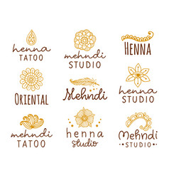 Henna mehndi logo set vector