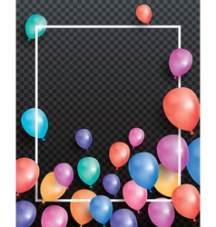 Holiday card with flying balloons and white frame vector