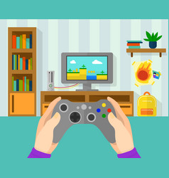 interior of gamer room of game vector image