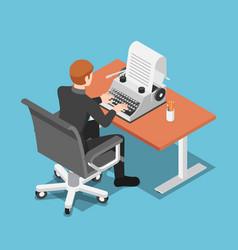 isometric businessman using typewriter vector image