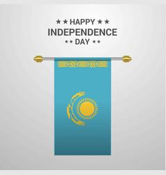 Kazakhstan independence day hanging flag vector