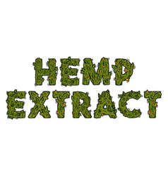 Lettering weed inscription natural hemp extract vector
