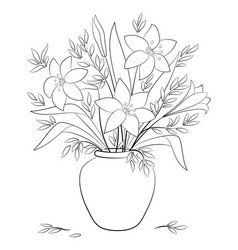 lilies flowers in a vase contours vector image