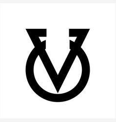 line art uv vu vou initials simple geometric vector image