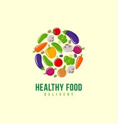 Logo healthy food vegetables delivery emblem vector
