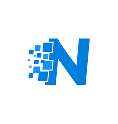 logo letter n blue blocks cubes vector image