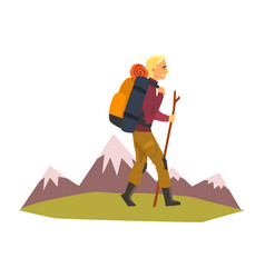 Man walking with backpack and stuff summer vector