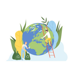 men cleaning earth planet from plastic waste vector image