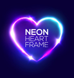 Night club neon heart sign 3d retro light frame vector