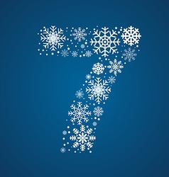 Number 7 font frosty snowflakes vector