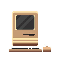 Old personal computer woth mouse retro pc vector