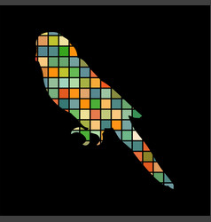 parrot budgerigar bird mosaic color silhouette vector image