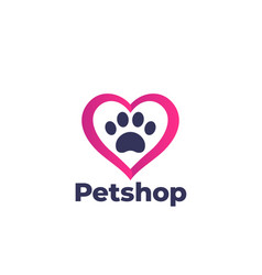 paw and heart pet shop logo vector image