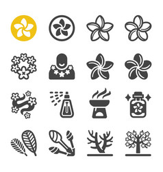 Plumeria icon set vector
