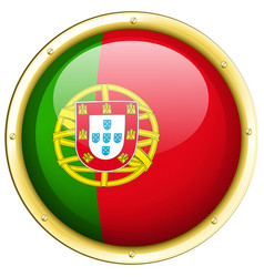 Portugul flag on round badge vector