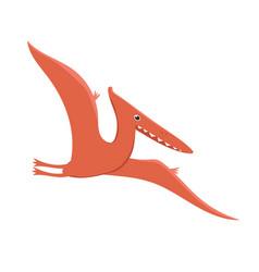 Pterodactyl dinosaur in cartoon style isolated vector