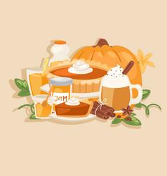 pumpkin thanksgiving harvest seasonal flavored vector image