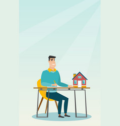 real estate agent signing home purchase contract vector image
