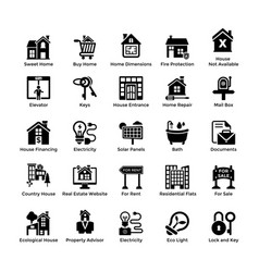 real estate glyph icons 7 vector image
