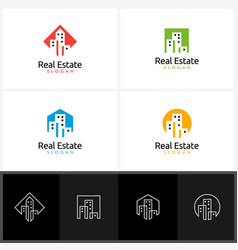 real estate logo with home and building vector image vector image