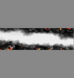 Realistic smoke with fire glow or sparks border vector