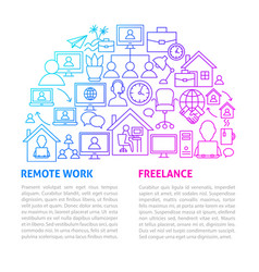 remote work line template vector image