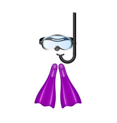 retro diving goggles with purple flippers vector image