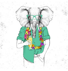 Retro hipster animal elephant with tropic cocktail vector