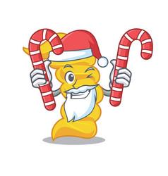 santa with candy fusilli pasta mascot cartoon vector image