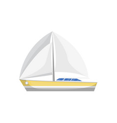 Sea sailboat side view isolated icon vector