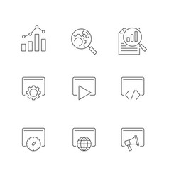 Search engine optimization line icons on white vector
