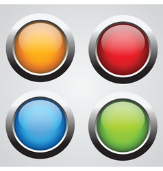 set 4 glass buttons vector image