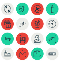 Set of 16 transportation icons includes world vector