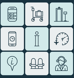 set of 9 transportation icons includes call vector image