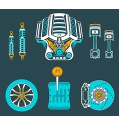 set spare parts for car vector image