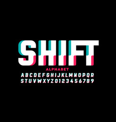 Shifted style font design vector