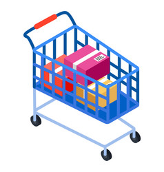 shopping cart on wheels with colorful boxes flat vector image
