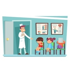 Sick children at doctor sitting on chairs cartoon vector