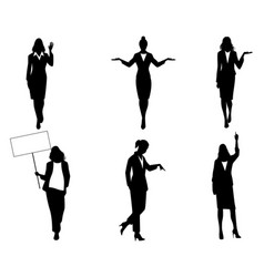 silhouettes businesswomen in action vector image