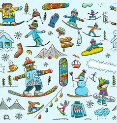 snowboard time seamless pattern for your design vector image
