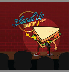 stand up comedy sandwich open mic vector image