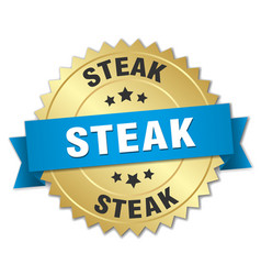 steak 3d gold badge with blue ribbon vector image
