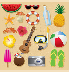 Summer beach item set vector