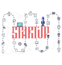 the concept of a startup infographic icons vector image
